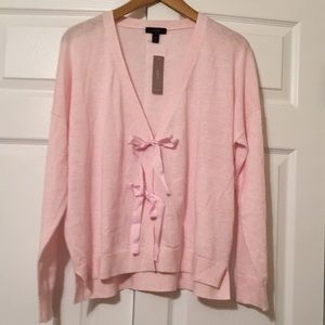 JCrew bow front cropped cardigan sweater